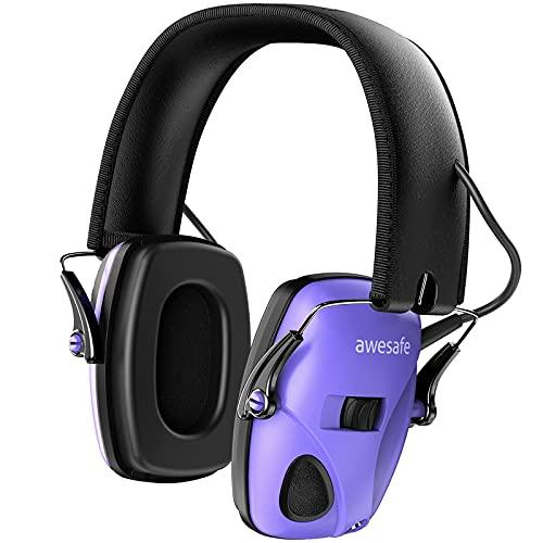Electronic Shooting Earmuffs Ear Hearing Protection Headphones for Shooter Gun Range Noise Reduction Sound Amplification (Purple)