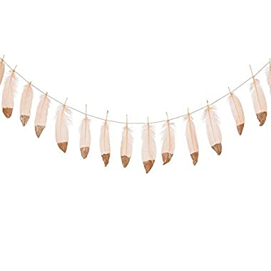 Ling's moment 10FT Feather Garland Rose Gold Glitter Dipped Soft Peach Feather Banner for Bedroom Bohemian Teepee Decorations, Boho Theme Wedding Bridal Baby Shower Decor