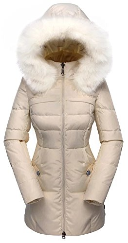Valuker Women's Down Coat With Fur Hood 90D Parka Puffer Jacket 57-Beige-XXS