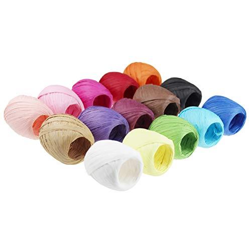 Raffiabast-Papierband, Set für Bastelarbeiten, Geschenkverpackungen, 15 Rollen, 15 Farben