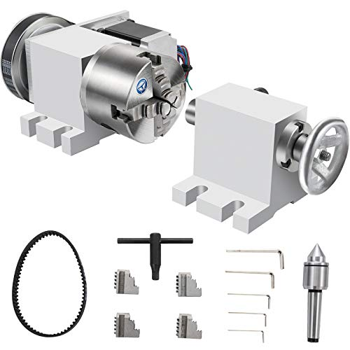 VEVOR 100mm 4-Jaw Chuck Dividing Head 4th Axis Home CNC Milling Machine Rotational Axis with Tailstock Rotary Axis Phase 2 Rotary Table Reducing Ratio 4:1 for Engraving Machine w/Tool Accessories