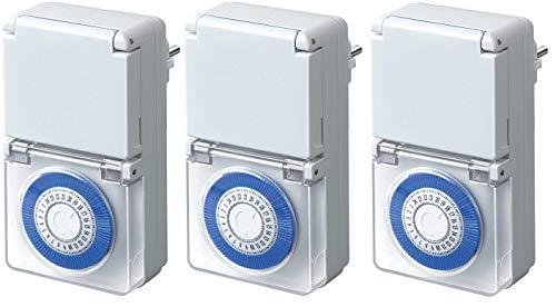 3er Pack Brennenstuhl Zeitschaltuhr MMZ 44, mechanische Timer-Steckdose (Tages-Zeitschaltuhr, IP44 geschützt, Kindersicherung & Schutzabdeckung) Farbe: weiß
