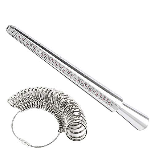 bottlewise Ring Sizer UK Metal Mandrel Stick Rings Jewellery Size Measure Tool Engagement Finger Gauge Sizer Kit for Men Women