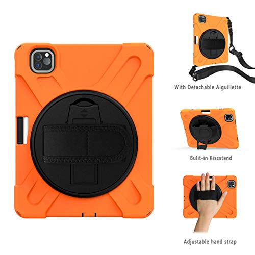 Case for New iPad Pro 11 inch 2018 (2020) Heavy Duty Rugged Shockproof Cover 360 Rotate Kickstand/Hand+Neck Strap+Pencil Holder,Orange