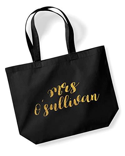 Mrs O'llivan - Borsa shopper personalizzabile con cognome, con scritta'Mrs O'llivan', colore: nero, con stampa glitterata o metallizzata Gold Glitter
