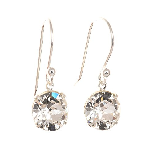 pewterhooter 925 Sterling Silver drop earrings for women made with sparkling Diamond White crystal from Swarovski. Gift box. Made in the UK. Hypoallergenic & Nickle Free for Sensitive Ears.