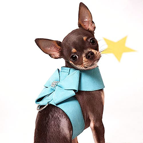 Juego de arnés y correa para perro, correa de perro con lazo para perros pequeños y medianos, collar para cachorro, correa para el pecho de mascotas (azul lazo, XL)