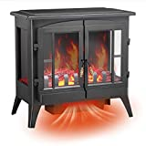 RMYHOME Infrared Electric Fireplace Stove, 23.6' Freestanding Fireplace Heater with Adjustable Brightness and Heating Mode, Realistic Flame Effects, Overheating Safety Protection System