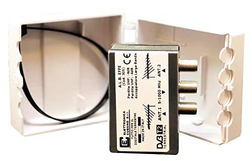 a.l.b. EFFE–Mezclador Universal para 2Antenas de Banda Ancha en Versión de Poste–atenuación de Paso < 4dB