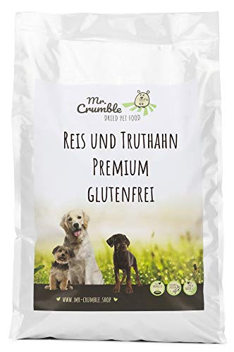 Mr. Crumble Dried Pet Food Hundefutter trocken glutenfrei mit Reis und Truthahn, hochverdaulich für adulte Hunde 30 kg (2 x 15 kg)