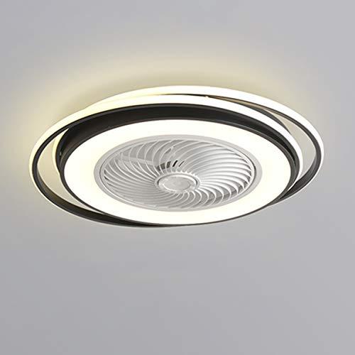 Dagea Ø62CM Moderno Ventilador de Techo con Iluminación LED Ligero Regulable con Control Remoto Invisible Silencio Redondo Ventilador Luces Sala Cuarto Habitación de niños Lámpara 64W,Negro