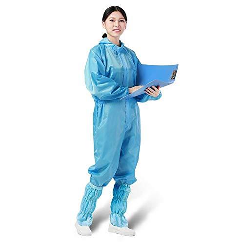 WZJDY Schutzanzug mit Kapuze und elastischen Manschetten für Frauen und Männer, antistatisch, staubdicht,Blau,XXXL