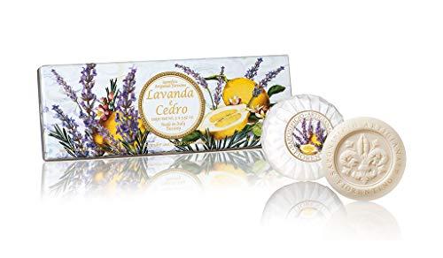 Lavendel- & Zedernseife, rund 3 St je 100g, handgemachte italienische Seife aus Fiorentino