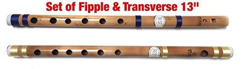 Bansuri-Flöten aus Bambus, indische Vansali-Flöten, Konzertflöten für Anfänger und Profis, Normaltonleiter C-Dur, 33cm, Blockflöte und Querflöte im Set