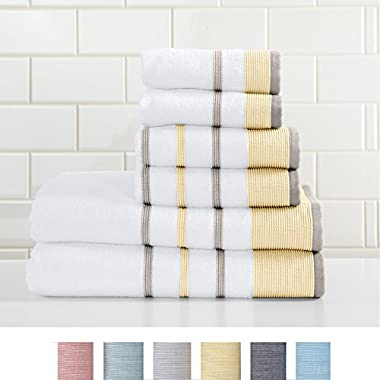 Great Bay Home 6-Piece Luxury Hotel/Spa 100% Turkish Cotton Striped Towel Set, 500 GSM. Includes Bath Towels, Hand Towels and Washcloths. Noelle Collection By Brand. (Gold/Grey)