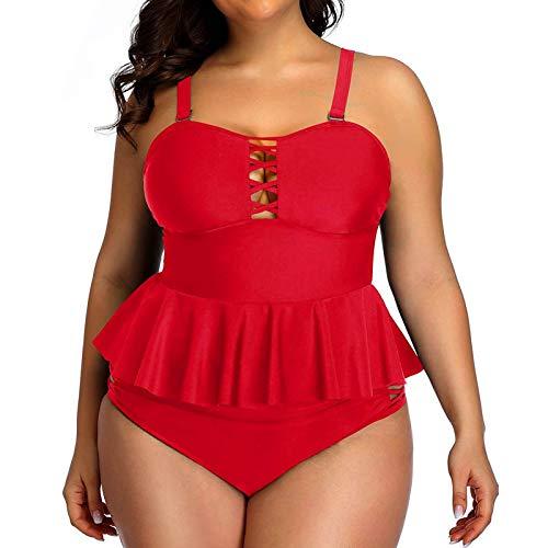 YANFANG Ropa De Playa para Mujer BañAdor Bikini Conjunto Tankini con Espalda Tiras Y Estampado Talla Grande Trajes BañO Dos Piezas Traje BañO,Conjunto,Rojo,S
