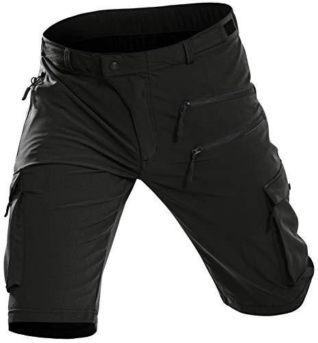 Vzteek MTB Hose Herren Radhose, Mountainbike Hose Fahrradhose Herren, Atmungsaktiv Schnelltrocknende Outdoor Bike Shorts(Schwarz,L)