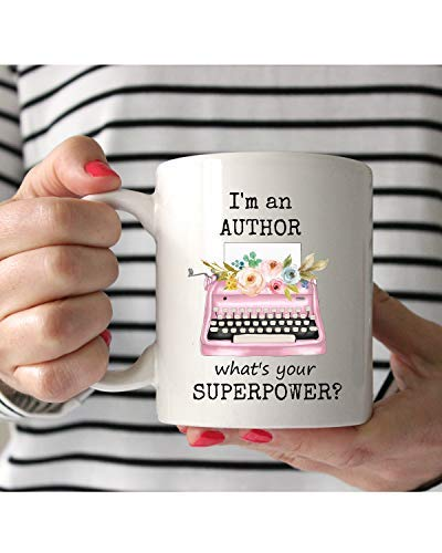 I'm an Author what's your superpower, Pink floral typewriter, Author Mug, Writers Mug, Gift for Author, Gift for Writers, Writers Gift