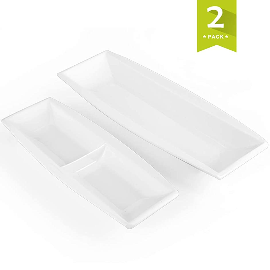 Malacasa, Series Blance, 2-Piece Ivory White Porcelain Serving Tray of 10