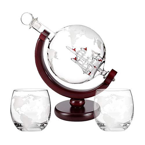 #N/a Juego de Decantador de Whisky Globe con 2 Vasos de Globo Terráqueo Grabados, Embudo de Fácil Vertido, Decantador de Vino de Barco de Vela Antiguo, Cap - Decantador conjunto-