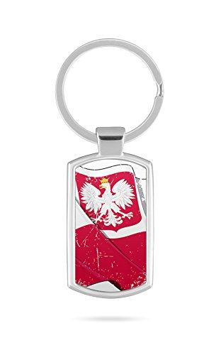 Schlüsselanhänger mit Gravur Wunschtext Name Polen Fahne 1