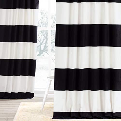 HPD Half Price Drapes PRCT-HS06-108 Horizontal Stripe Curtain (1 Panel), 50 X 108, Onyx Black & OffWhite