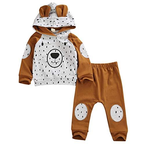 Geagodelia Babykleidung Set Baby Jungen Mädchen Kleidung Outfit Langarm Kapuzenpullover Top + Hose Neugeborene Weiche Babyset T-33958 (Braun Bär 282, 6-12 Monate)