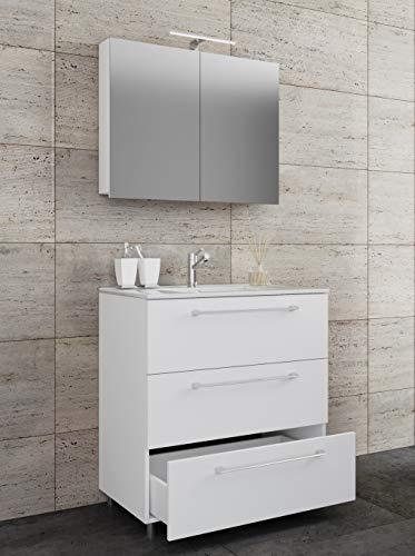 VCM 3-TLG. Waschplatz Set Waschtisch Waschbecken Keramik Sentas Spiegelschrank + 3 Schubladen Weiß: 80 cm