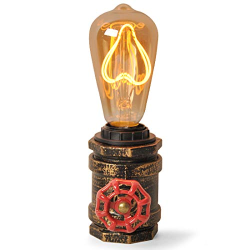 Deluce Lampara Tuberia Mesa Escritorio Industrial Vintage Steampunk Cobre Retro Decoracion para e27 Led Edison Foco, 101