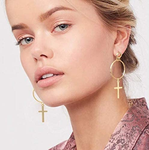 Baba Punk Style Women Girls Jewelry Accessories Bohemia Big Hollow Cross with Circle Design Hoop Earrings