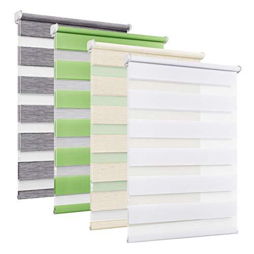 BelleMax Store Enrouleur Jour Nuit, Tissu Double, 45 x 150 cm Blanc, Rideau sans Perçage, Translucide, Occultant et Protection Vie privée