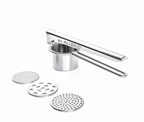 Potato Ricer, Potato Masher - ALISKID Stainless Steel Potato Ricer with 3 Interchangeable Disks, Best Potato Press
