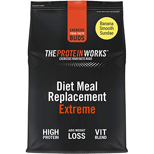 THE PROTEIN WORKS Diet Meal Replacement Extreme | Seen On This Morning ITV | Nutritionally Complete Meal | Immunity Boosting Vitamins | Just Add Water | Banana Smooth | 1 kg