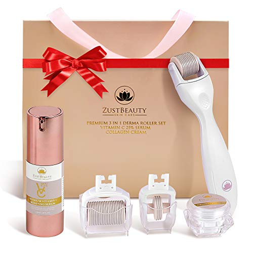 ZUSTBEAUTY | ALL IN 1| Derma Roller Kit With Vitamin C 25% Serum & Collagen Cream | For Face, Body, Beard, Hair, Stomach, Lip |0.3MM Titanium Microneedle Heads 180 for Eyes 600 for Face 1200 for Body