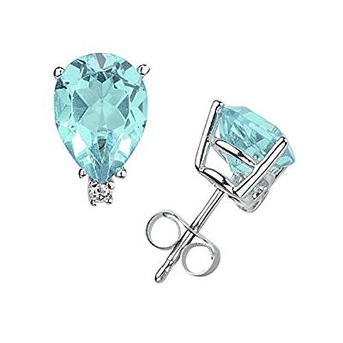 Ani's Pendientes de tuerca de 1,25 quilates con diamantes de imitación de corte redondo y pera chapados en oro blanco de 14 quilates, plata 925
