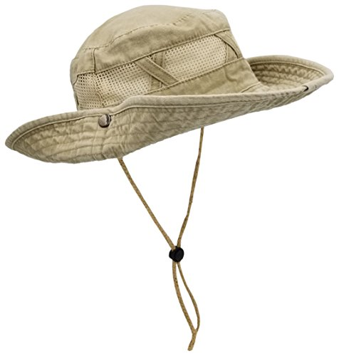 Outdoor Summer Boonie Hat for Hiking, Camping, Fishing, Operator Floppy Military Camo Sun Cap for Men or Women (Tan (Mesh Strip))
