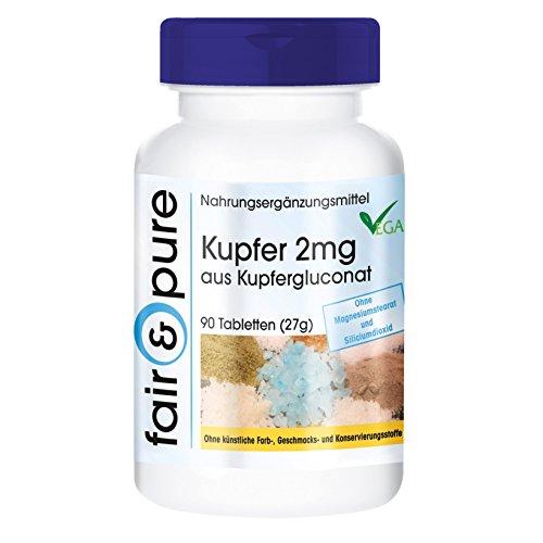 Rame 2mg - gluconato di rame - sostanza pura - no eccipienti/additivi - 90 compresse vegetali