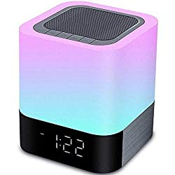 YSD Night Light, Touch Sensor Bedside Lamp with Bluetooth Speaker, Warm Light and Color Changing Table Lamp, 4000mAh Battery & 12/24H Digital Calendar Alarm Clock, Best Gift for Kids Friends Party