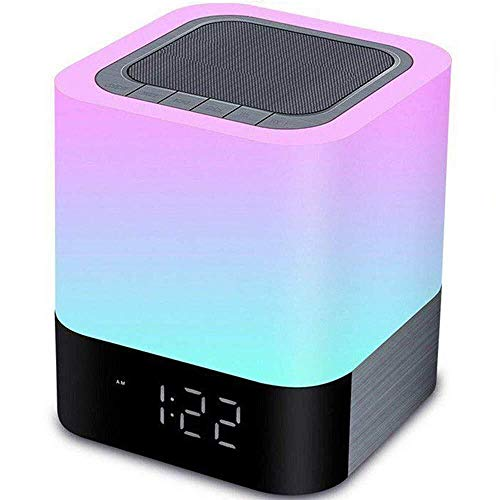 YSD Night Light , Touch Sensor Bedside Lamp with Bluetooth Speaker, Warm Light and Color Changing Table Lamp, 4000mAh Battery & 12/24H Digital Calendar Alarm Clock, Best Gift for Kids Friends Party