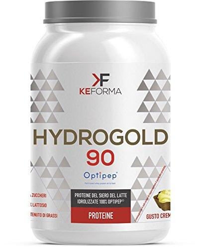 KeForma HYDROGOLD 90 Optipep proteine del siero del latte idrolizzate 100% Optipep - 900 g. gusto Crema Wafer