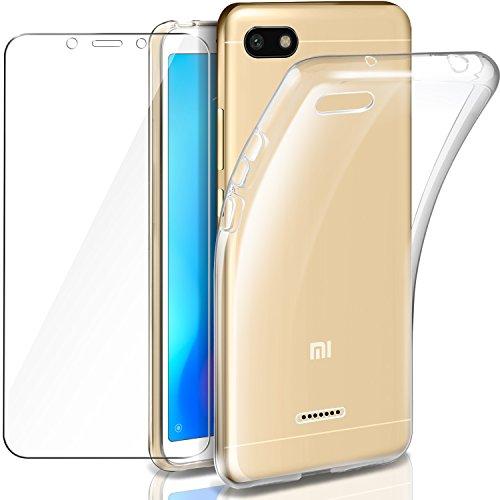 Leathlux Funda Xiaomi Redmi 6A + Protector de Pantalla Cristal Templado Xiaomi Redmi 6A Suave Transparente Silicona Protectora TPU Gel Fina Case & Vidrio Templado para Xiaomi Redmi 6A - 5.45