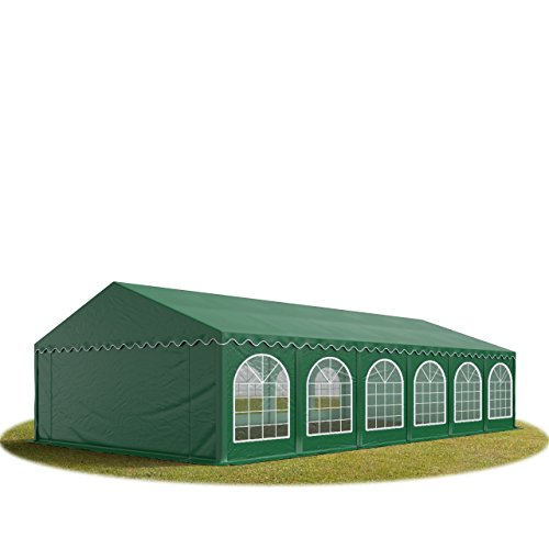 TOOLPORT 6x12 mTendone per Feste Premium PVC Verde Scuro 100% Impermeabile Gazebo da Giardino Tendone da Esterno Tenda Party
