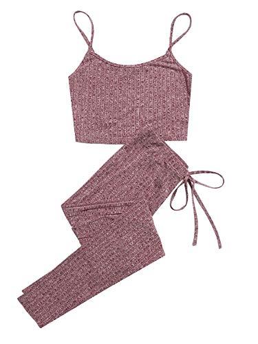 DIDK - Conjunto de 2 piezas para mujer, top corto y legging, conjunto de pantalones delgados y tank Cami de deporte, yoga, gimnasio, fitness, jogging rosa XS