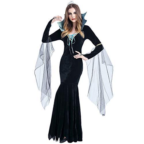 RISTHY Vestidos de Halloween para Mujeres Traje de Fiesta de Brujas Cosplay Vestido Largo Vestido Vintage