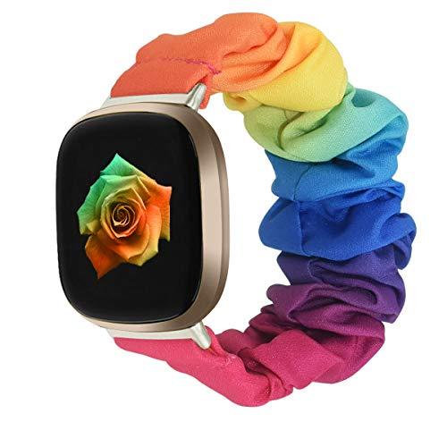 Vozehui - Cinturino in morbido tessuto elastico, compatibile con Fitbit Versa 3/Fitbit Sense, motivo stampato traspirante di ricambio Scrunchies per Versa 3/Fitbit Sense, da donna e da ragazza