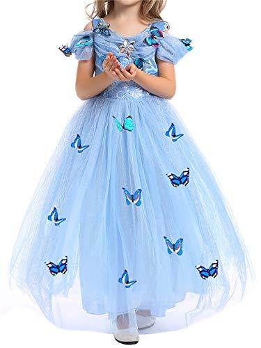 YOSICIL Vestido de Princesa Cenicienta Bella Niñas Disfraz Princesa Azul Rosa Vestidos de Fiesta de Tul Tutu y Accesorios Mariposa Fancy Dress Traje de Cumpleaños Boda 3-10 años 100-150cm