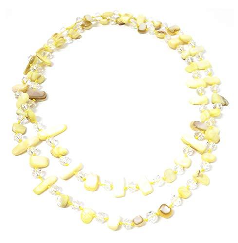 BRANDELIA Collares Largos de Colores Mujer Bisutería de Nácar y Perlas de Cristal, Amarillo