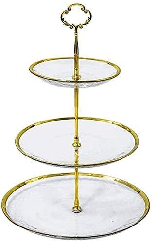 Soporte de pastel, 3 Capa de soporte de la torta del estilo europeo de cristal redondo soporte de la torta del soporte de exhibición soporte té bandeja del postre por fiesta de cumpleaños y bodas (Col