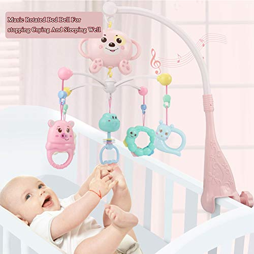 3 in 1 Musical Mobile kinderbedje Decoration Toy Opknoping Rotating Bell Met Melodies Dual Purpose, Crib Mobile Met licht en muziek baby Mobile,Pink