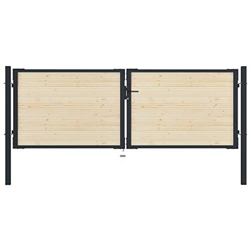 GOTOTOP Flat Top Strong Garden Gate Driveway Fence Wood Double Doors with 1 Lock, 1 Handle and 1...